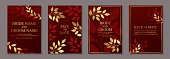 Set of four cards with golden autumn leaves on a red background.