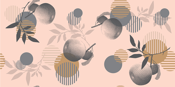 Geometric shapes, apples and branches on a pink background