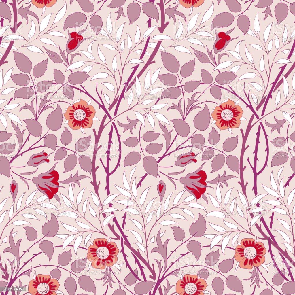 あなたの設計のための現代花の継ぎ目が無いパターン紙または織物に印刷