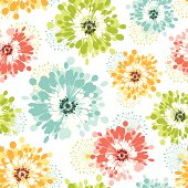 Modern floral seamless pattern.  Hi-res jpeg included, global colors used. Scroll down to see more works linked below.