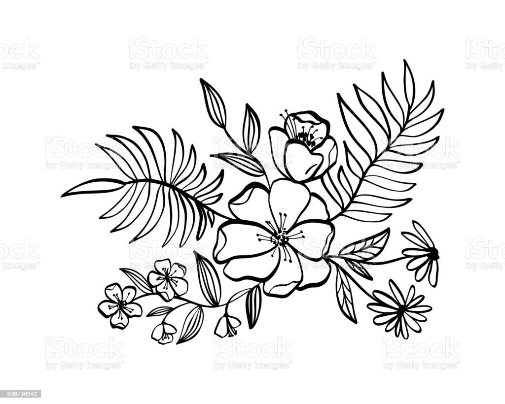 Simple Floral Line Art : Modern flowers drawing and sketch floral with lineart