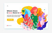 Modern fluid style website illustration. Web page design template. Woman in fantasy leaves and flowers.