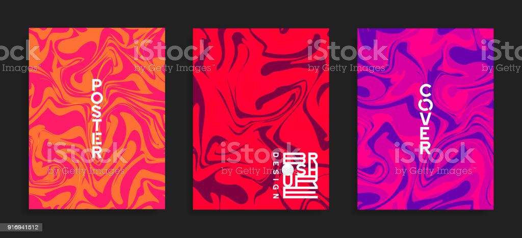Modern flyer templates. Fluid colors mixture. vector art illustration