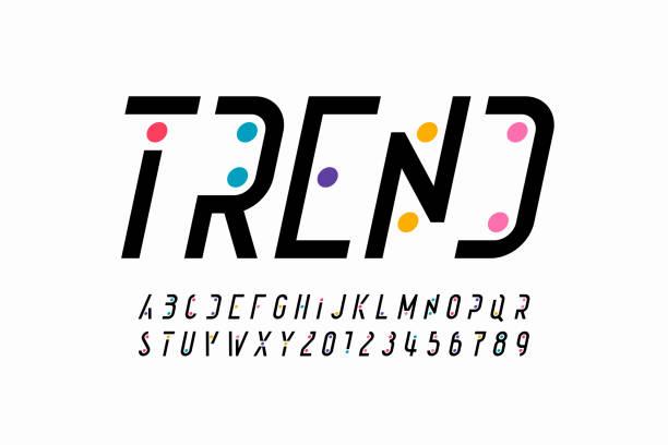 Modern font design vector art illustration