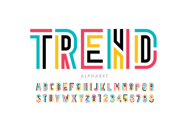 Modern font design Modern font design, trendy alphabet letters and numbers vector illustration alphabet patterns stock illustrations