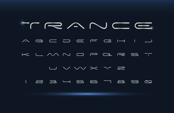 moderne schrift. futuristisches vektoralphabet. breite buchstaben. - breit stock-grafiken, -clipart, -cartoons und -symbole