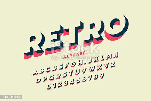 Modern font design in retro style, alphabet letters and numbers vector illustration