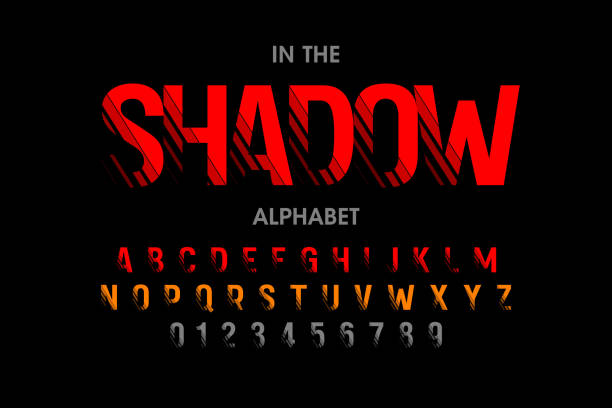 Modern font with shadow effect vector art illustration