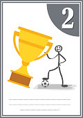 Modern footbal certificate with place for your content, for kids second place .