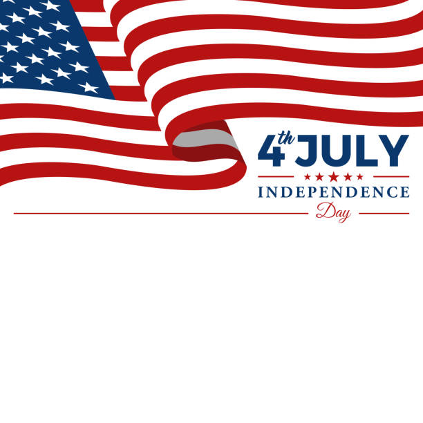 7 월 미국 독립 기념일 기념 깃발 배경 헤더 배너의 현대 4 일 - independence day stock illustrations
