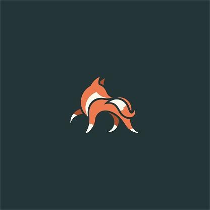 Modern Fox Icon Flat Logo Identity