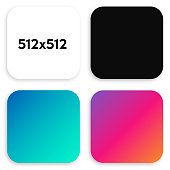 Modern frame buttons for mobile applications and games in the size of 512x512 pixels with rounded corners on white background. Vector illustration.