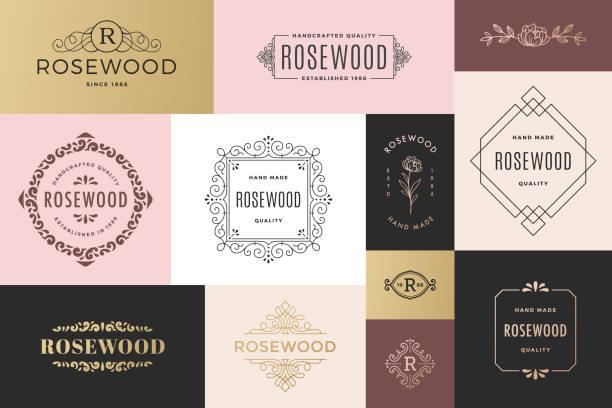 nowoczesne ramy i logo - insygnia stock illustrations