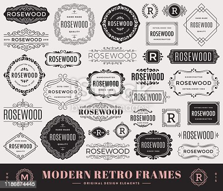 Collection of modern retro frames with swirls. Fashionable design elements. Retro badges, frames and banners.templates.