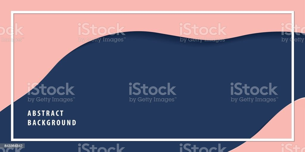 Modern freeform abstract paper cut layer background banner navy blue and pink color vector. Background concept. vector art illustration
