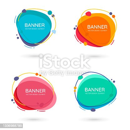 istock Modern free-form abstract vector banners. Flat design of different colors with text space. 1336988785