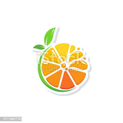 istock modern fresh orange logo vector illustration, Fresh Orange Slice Logo Designs 1211462775