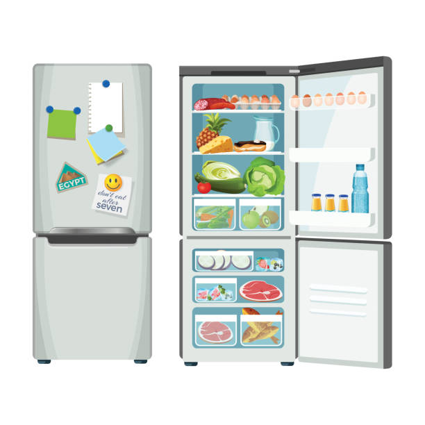 Modern fridge with different food set colorful poster Fridge closed and full of products, vector refrigerator for food storage, silver case with metal handles, colorful notes and magnets pinned to ice-box door refrigerator stock illustrations