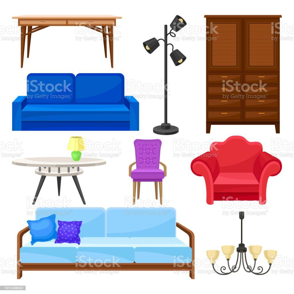 Moderne Möbelkollektion Inneneinrichtung Vektor Illustrationen Auf