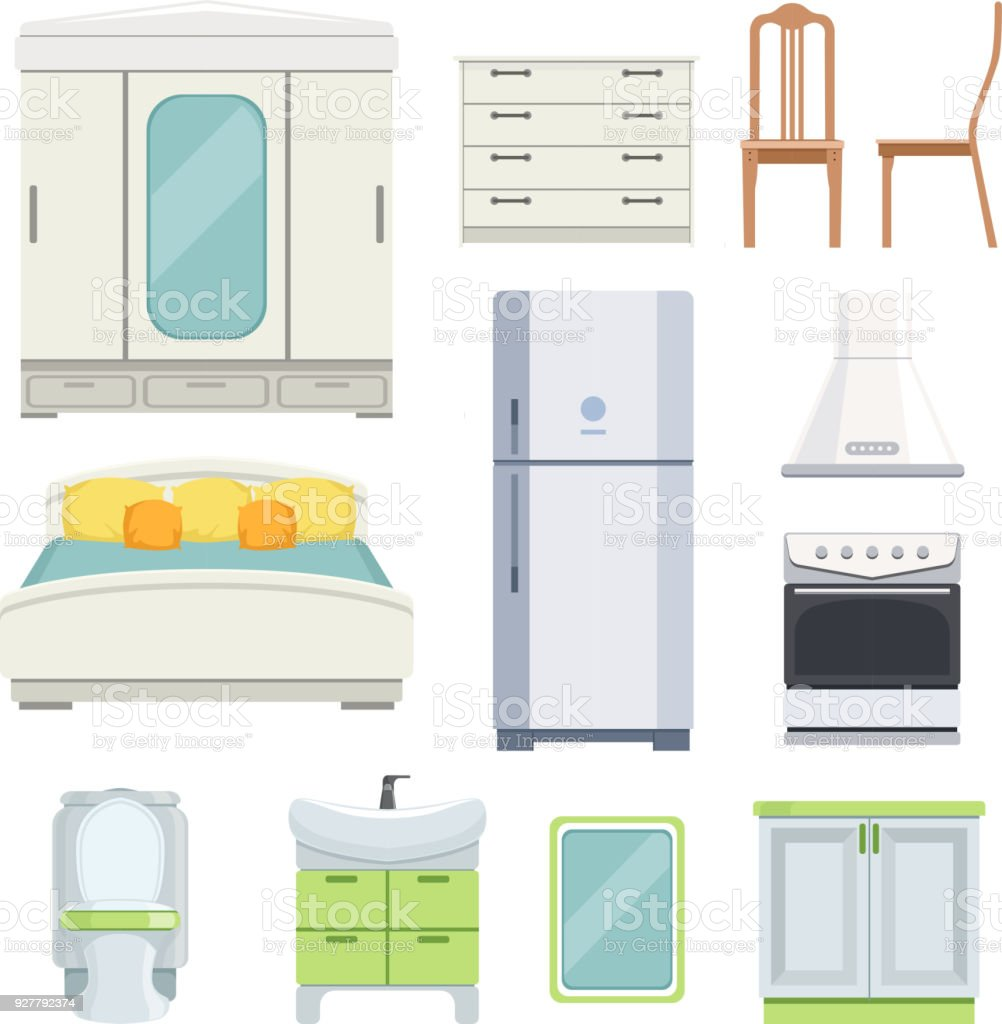 1b6bdd0ce76c5e Moderne Möbel Für Schlafzimmer Küche Und Wohnzimmer Stock Vektor Art ...