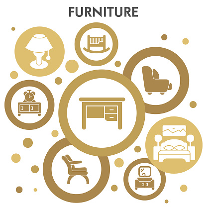 Modern Furniture Infographic design template with icons. Home decoration Infographic visualization in bubble design on white background. Creative vector illustration for infographic.