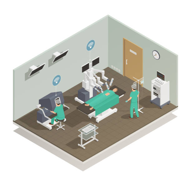 modern future medicine technology composition Modern and future medical technologies isometric composition with advanced robotic surgeons assisting operating room vector illustration 20th century stock illustrations