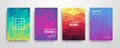 Modern futuristic abstract geometric covers set. Minimal colorful trendy templates design. Cool gradient shapes. Poster background composition. Vector illustration.