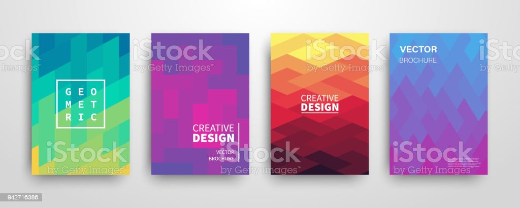 Modern futuristic abstract geometric covers set vector art illustration