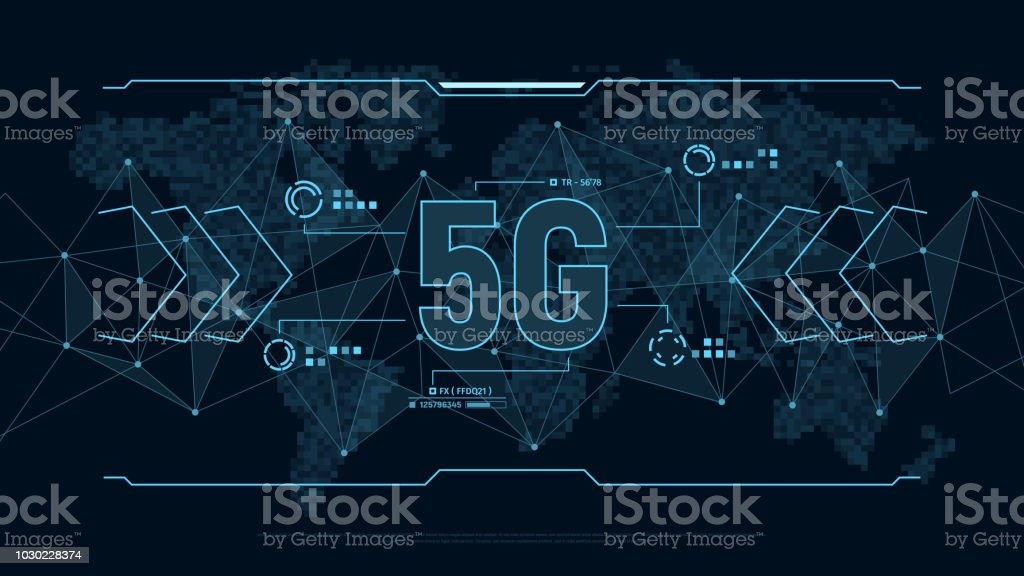 Modern Futuristic Background For Technology 5g With Polygons