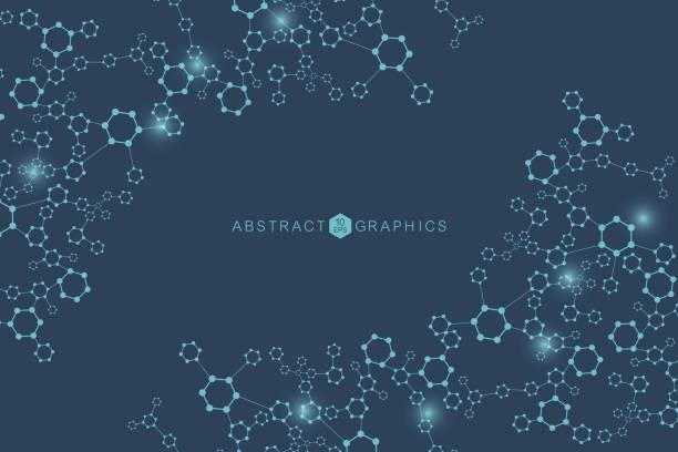 現代未來背景的科學六邊形模式。虛擬抽象背景與粒子,分子結構醫學,技術,化學,科學。社交網路向量 - 健康科技 幅插畫檔、美工圖案、卡通及圖標