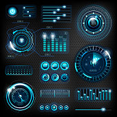 Modern futuristic interfaces on dark carbon background. 10 EPS file with transparency effects and overlapping colors