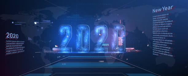 moderne futuristische technologievorlage für 2020. neues jahr 2020 im stil hud, gui, ux. futuristischer hintergrund für ihr design. technologiehintergrund. digitale datenvisualisierung. hightech-konzeptinnovation - dashboard, hintergrund, hell stock-grafiken, -clipart, -cartoons und -symbole