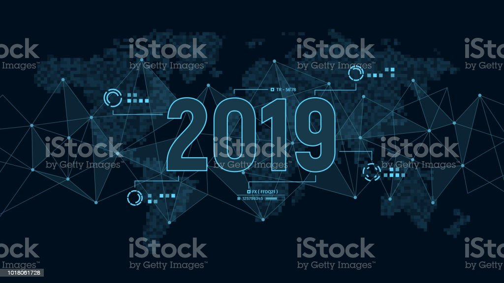 Modern futuristic template for 2019 on background with polygons connection structure and world map in pixels. Digital data visualization. Business technology concept. royalty-free modern futuristic template for 2019 on background with polygons connection structure and world map in pixels digital data visualization business technology concept stock illustration - download image now