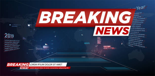 Modern futuristic template for news on background. Digital data visualization. Business technology concept. Banner breaking news, important news,Vector illustration Modern futuristic template for news on background. Digital data visualization. Business technology concept. Banner breaking news, important news television stock illustrations