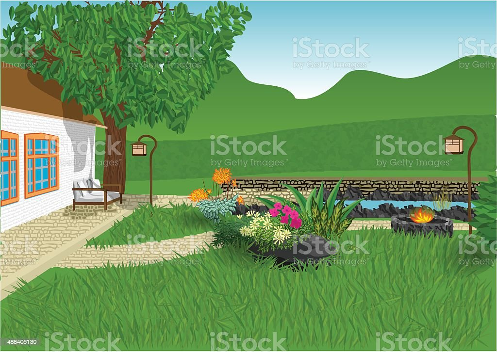 modern garden vector art illustration