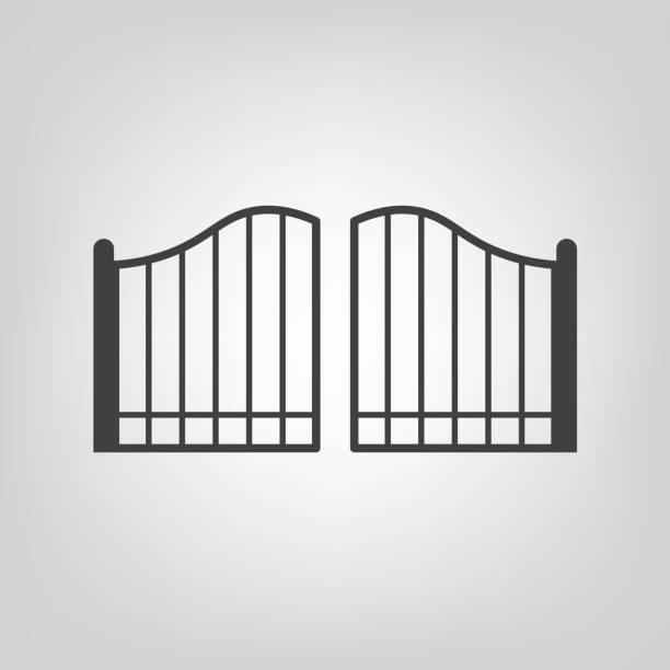 ilustrações de stock, clip art, desenhos animados e ícones de modern gate icon - portão