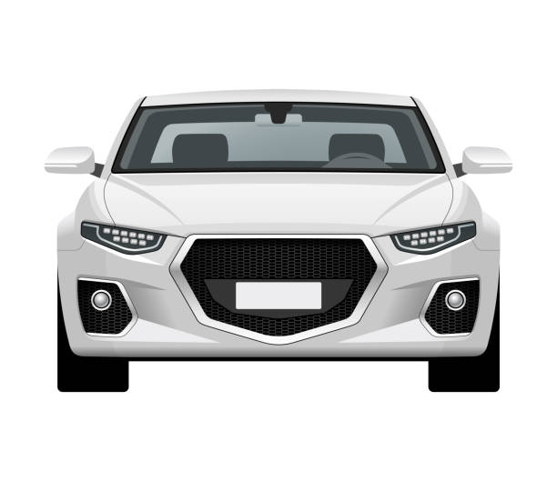 Modern generic car. Front view of realistic detailed vector car. Middle class sedan isolated on white background. vector art illustration