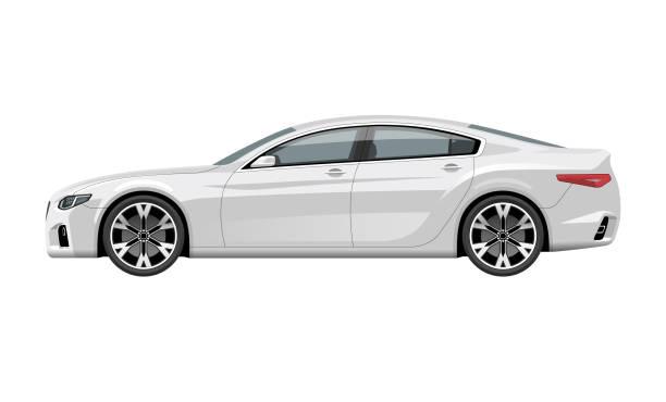 moderne generische auto. seitenansicht der realistisch detaillierte vektor auto. mittelklasse-limousine isoliert auf weißem hintergrund. - edelrost stock-grafiken, -clipart, -cartoons und -symbole