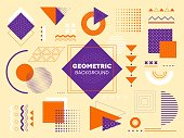 Set of design elements for a geometric background using squares, rectangles, triangles, circles, arcs, waves and dots in assorted combinations, vector illustration