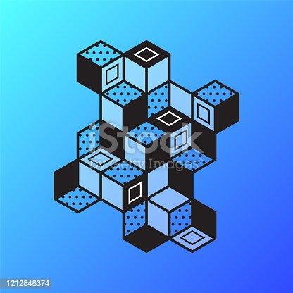 Abstract blocks illustration drawn with isometric perspective for use in a variety of applications. Vector artwork is easy to colorize, manipulate, and scales to any size.