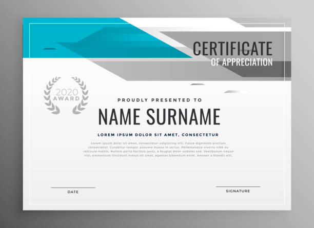 illustrazioni stock, clip art, cartoni animati e icone di tendenza di modern geometric certificate of appreciation template - attestato