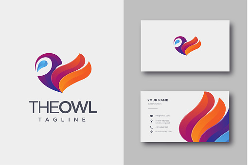 Modern Geometric Colorful owl vector icon and business card template