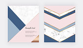 Modern geometric design on the marble texture, pink, blue triangular shapes and golden lines. Background for wedding invitation, greeting, banner, flyer, poster, save the date, card
