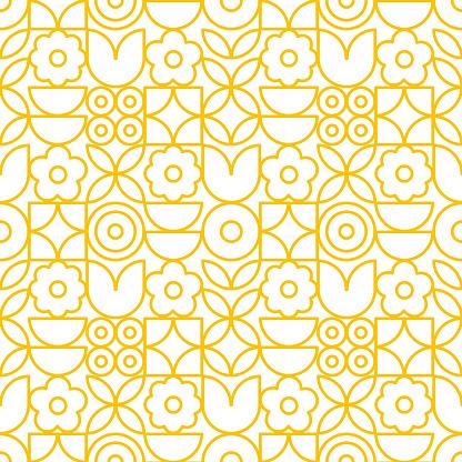 Modern geometric flower pattern. Retro Scandinavian style.