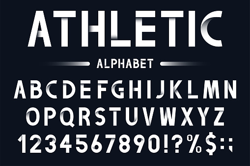 Modern geometric font in origami style. Athletic, sport alphabet with numbers