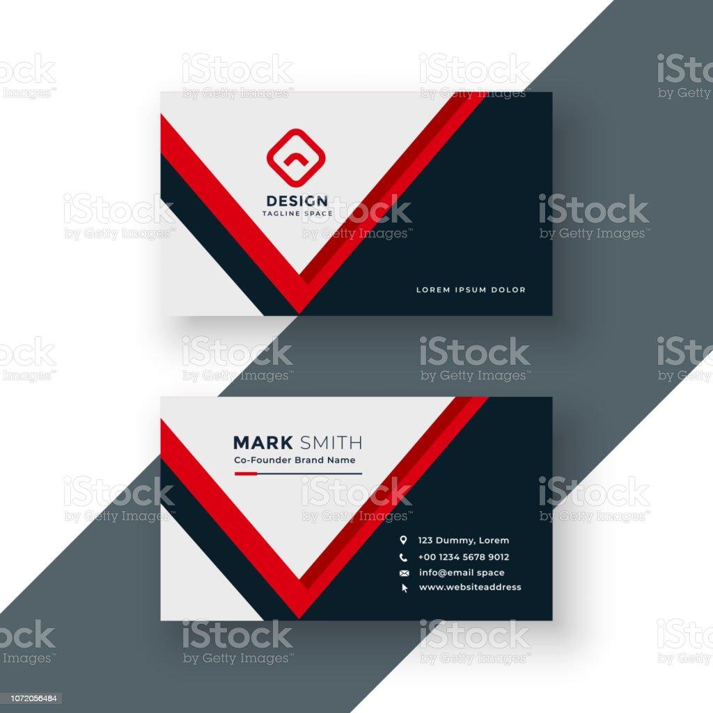 Modernen Geometrischen Rot Visitenkartendesign Stock Vektor