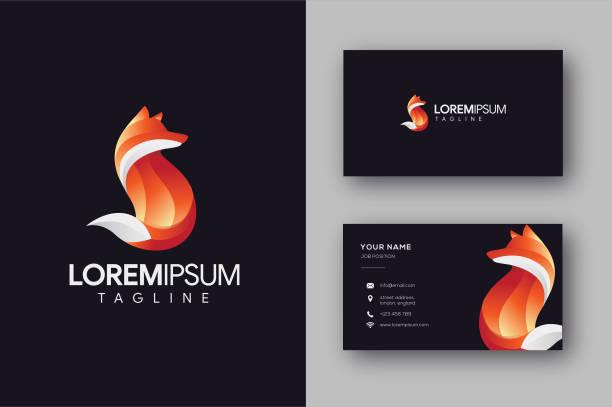 Modern geometric Red Fox vector template Modern geometric Red Fox template and business card vector fox stock illustrations