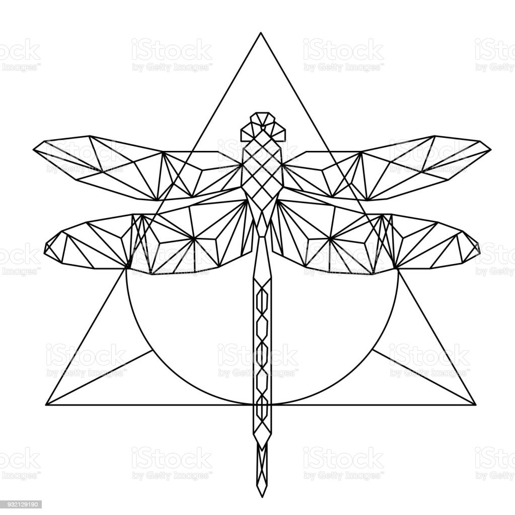 La Geometrie Moderne Libellule Tattoo Design Triangle Background