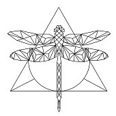 Modern Geometry Dragonfly Tattoo Design Triangle Background Vector Image