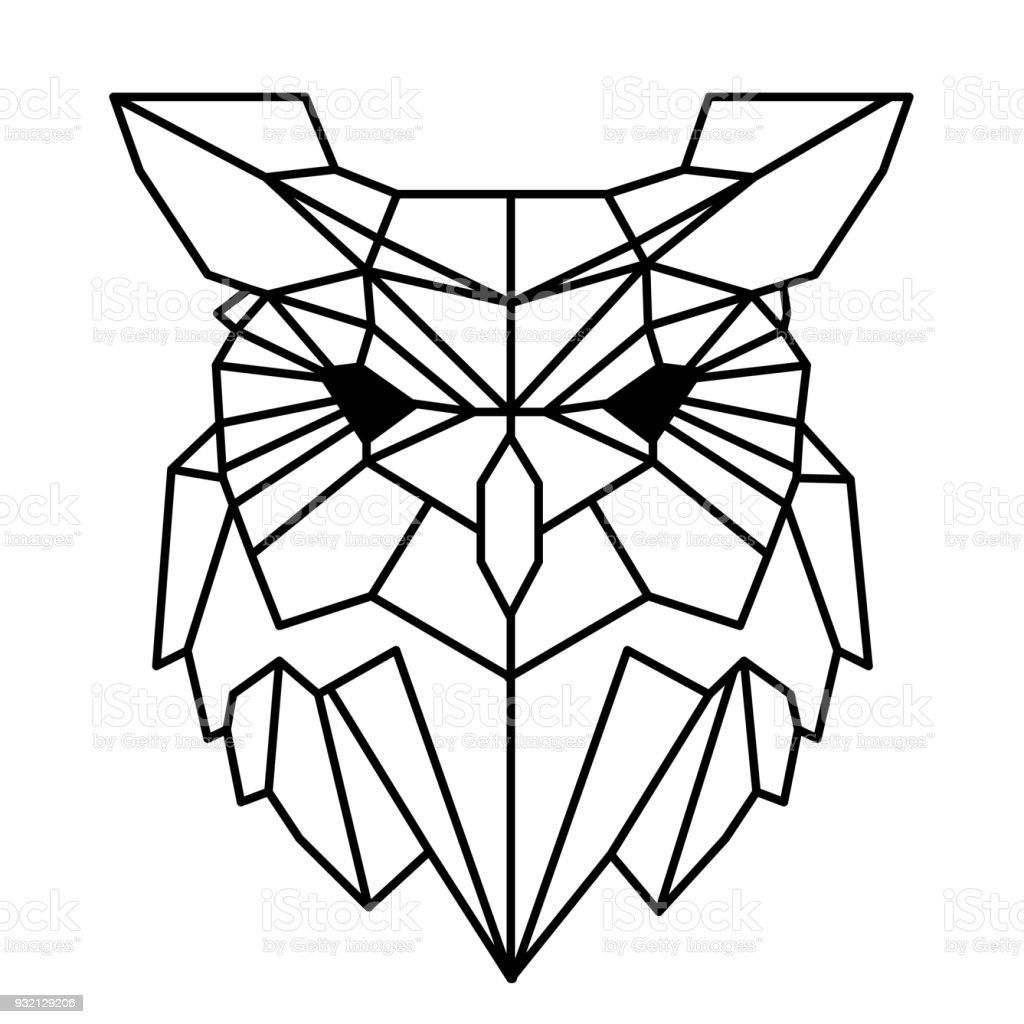 Modern Geometry Owl Design Tattoo Vector Image Stock Vector Art